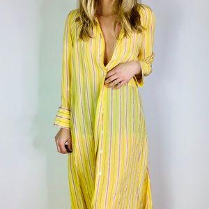 Zara Yellow Stiped Button Down Collared midi dress